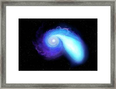 Neutron Star And White Dwarf Merging Framed Print