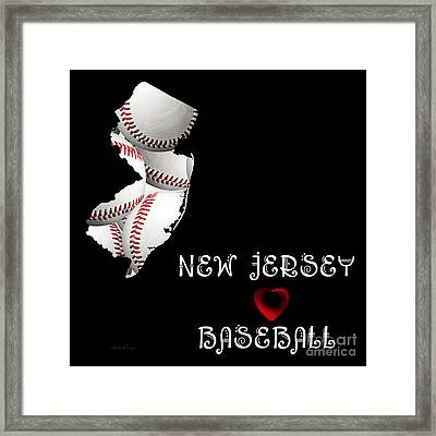 New Jersey Loves Baseball Framed Print by Andee Design