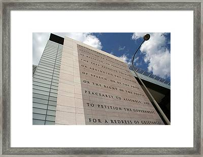 Framed Print featuring the photograph The Newseum by Cora Wandel
