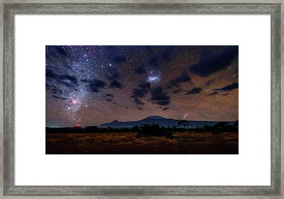 Night Sky Over Mount Kilimanjaro Framed Print by Babak Tafreshi