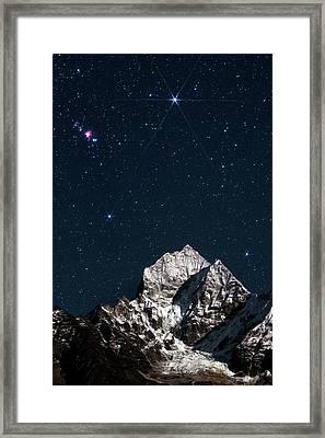 Night Sky Over The Himalayas Framed Print by Babak Tafreshi