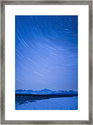 Night Time View Of Star Trails Over Mt Framed Print