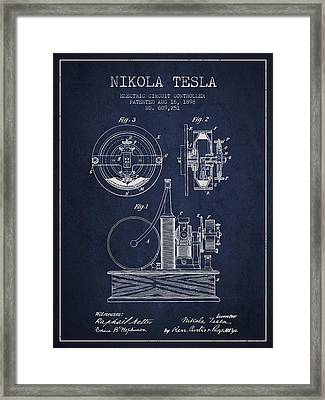 Nikola Tesla Electric Circuit Controller Patent Drawing From 189 Framed Print by Aged Pixel