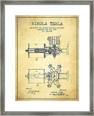 Nikola Tesla Patent Drawing From 1886 - Vintage Framed Print by Aged Pixel