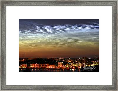 Noctilucent Cloud Over A City Framed Print by Pekka Parviainen