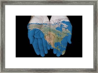 North America In Our Hands Framed Print