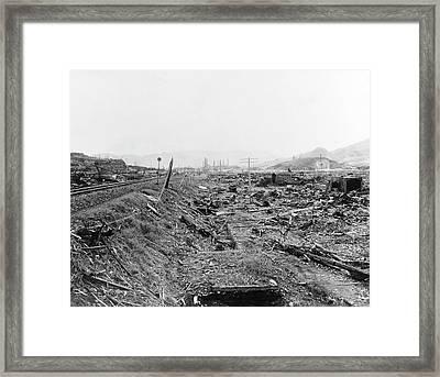 Nuclear Destruction At Nagasaki Framed Print by Us Navy