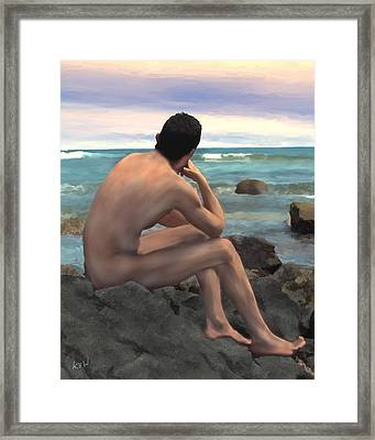 Nude Male By The Sea Framed Print by Kurt Van Wagner