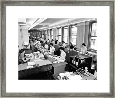 Office Workers Entering Data Framed Print