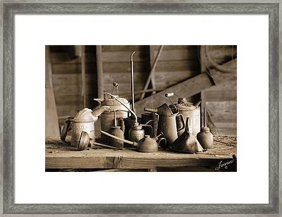 Oil And Gas Cans Framed Print