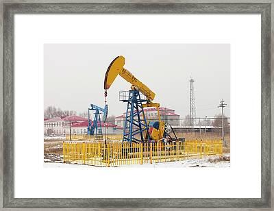 Oil Field In Daqing Framed Print