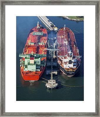 Oil Tankers Docked At Oil Pier, Down Framed Print