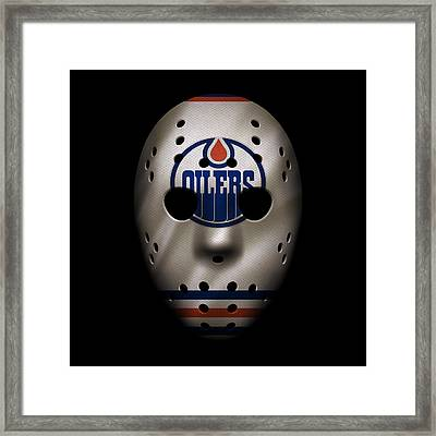 Oilers Jersey Mask Framed Print by Joe Hamilton