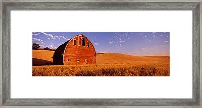 Old Barn In A Wheat Field, Palouse Framed Print