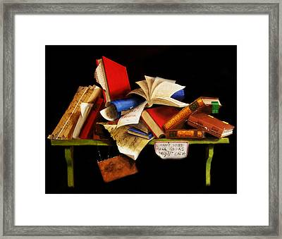 Framed Print featuring the painting Old Books For Sale by Barry Williamson