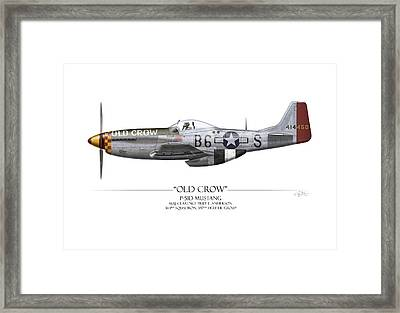 Old Crow P-51 Mustang - White Background Framed Print