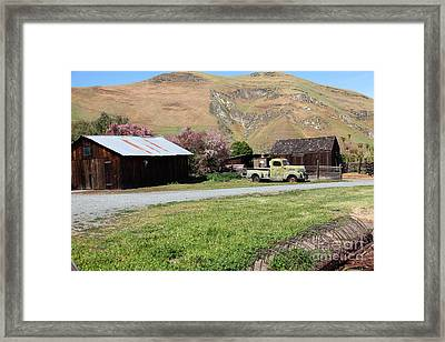 Old Dodge Truck At Ranch Along The Rolling Hills Landscape Of The Black Diamond Mines In Antioch Cal Framed Print by Wingsdomain Art and Photography