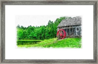 Old Grist Mill Vermont Red Water Wheel Framed Print