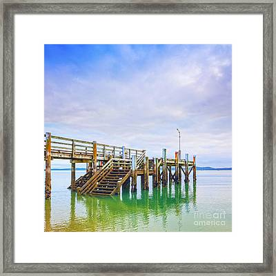 Old Jetty With Steps Maraetai Beach Auckland New Zealand Framed Print