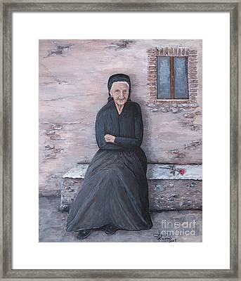 Old Woman Waiting Framed Print by Judy Kirouac