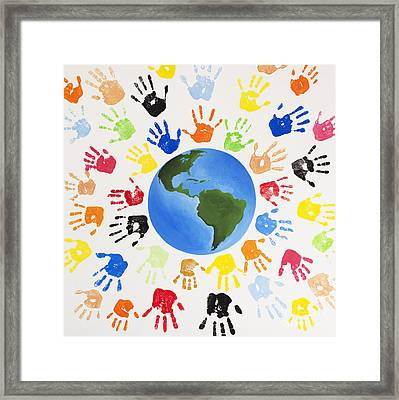 One World Framed Print by Tim Gainey