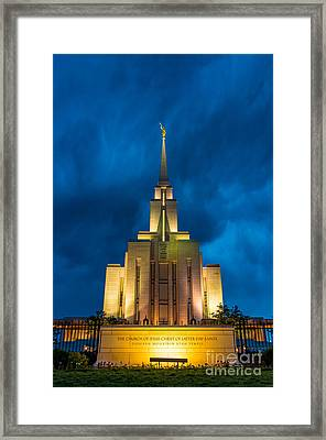 Oquirrh Mountain Lds Temple Evening Thunderstorm Framed Print