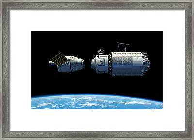 Orbital Maintenance Docking Framed Print