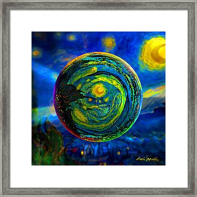 Orbiting A Starry Night  Framed Print by Robin Moline