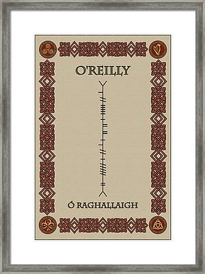 Framed Print featuring the digital art O'reilly Written In Ogham by Ireland Calling