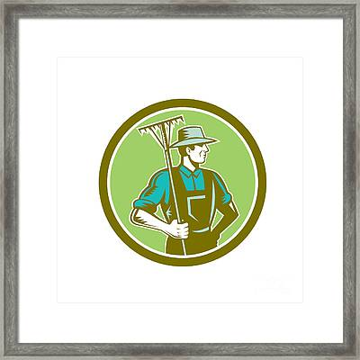 Organic Farmer Rake Woodcut Retro Framed Print by Aloysius Patrimonio