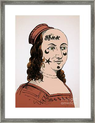 Ornamental Patches On Face 17th Century Framed Print by Photo Researchers