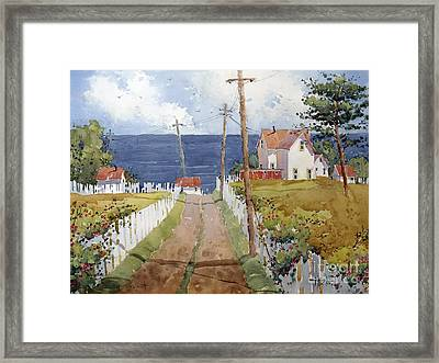 Pacific View And Blackberries Too Framed Print by Joyce Hicks