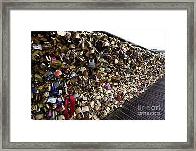 Padlocks On The Pont Des Arts. Paris. France Framed Print