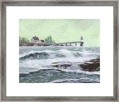Ram Island Lighthouse During Storm Framed Print by Keith Webber Jr