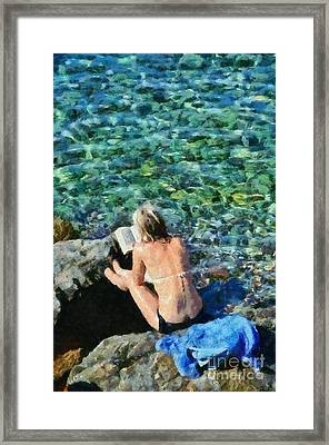 Painting Of Woman In Hydra Island Framed Print
