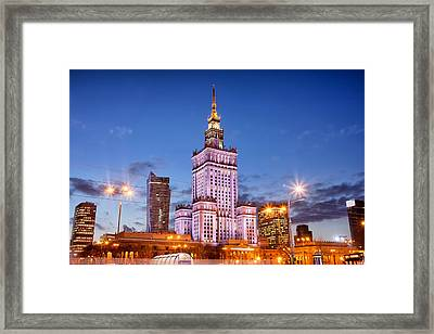 Palace Of Culture And Science At Dusk In Warsaw Framed Print by Artur Bogacki