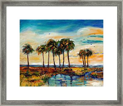 Palms At Sunset Framed Print