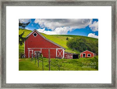 Palouse Farm Landscape Framed Print by Inge Johnsson