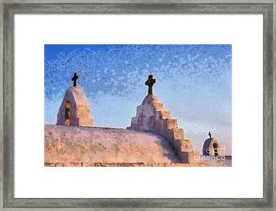 Panagia Paraportiani Church In Mykonos Island Framed Print by George Atsametakis