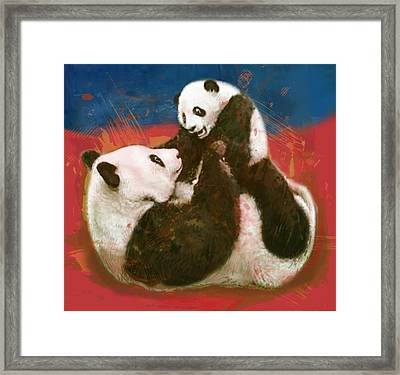 Panda Mum With Baby - Stylised Drawing Art Poster Framed Print by Kim Wang