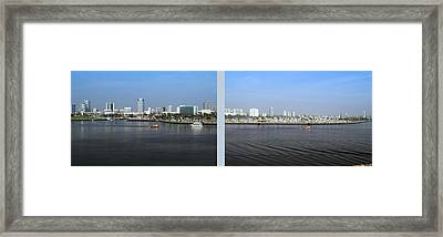 2 Panel Shoreline Long Beach Ca 01 Framed Print by Thomas Woolworth