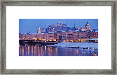 Panorama Of Salzburg In The Winter Framed Print by Sabine Jacobs