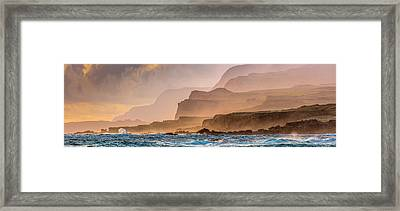Panoramic Of Molokais North Shore Sea Framed Print by Richard A Cooke Iii.