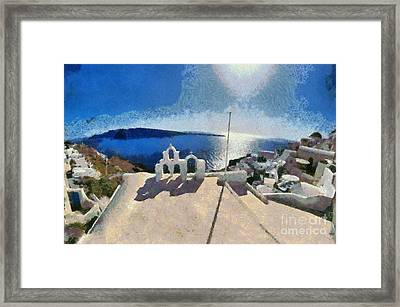 Panoramic View Of Oia Town Framed Print by George Atsametakis