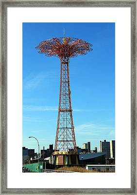 Parachute Jump Framed Print by Jim Poulos