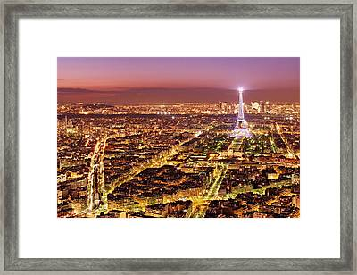 Framed Print featuring the photograph Paris Cityscape At Night / Paris by Barry O Carroll