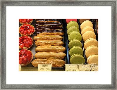 Paris Macarons And Patisserie Bakery - Paris Macarons Desserts Food Photography Framed Print by Kathy Fornal