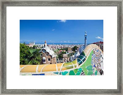 Park Guell In Barcelona Framed Print by Michal Bednarek