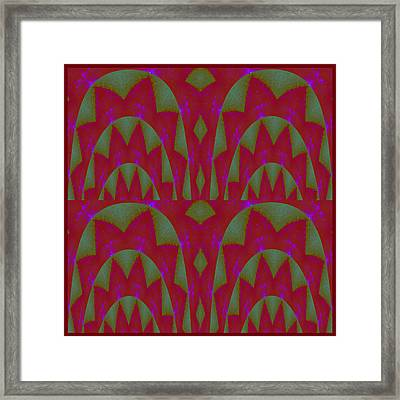Parrot Green Leaf And Rose Red Flower Graphic Deco Decoration Horizontal Panorama 3d Look Framed Print by Navin Joshi