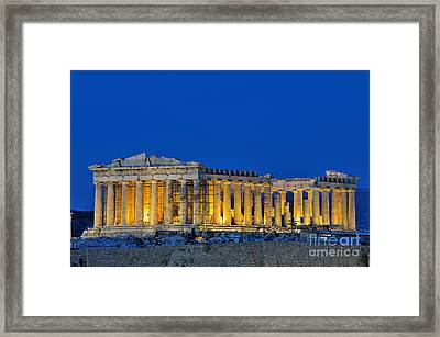 Parthenon In Acropolis Of Athens During Dusk Time Framed Print